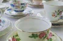 Teacups, saucers and cake plates