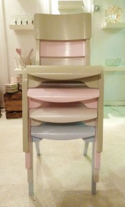 stacking chairs pastle